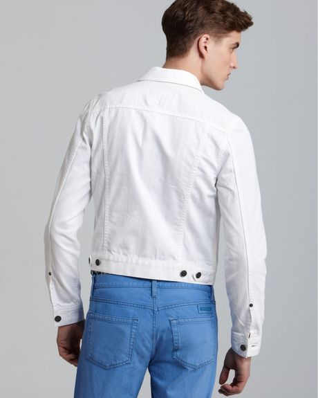 Authentic Burberry White Denim Jackets For Men