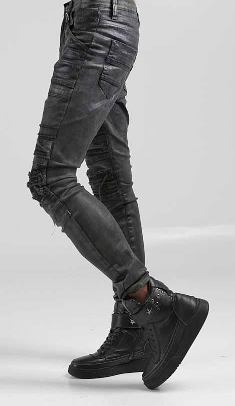 Black Skinny Cargo Pants For Men