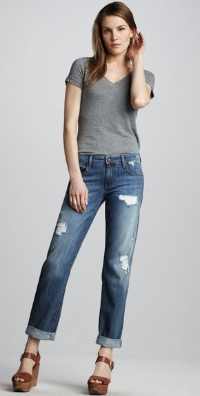 Denim Distressed Boyfriend Jeans