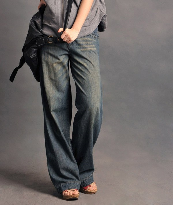 Get Womens Plus Size Wide Leg Jeans