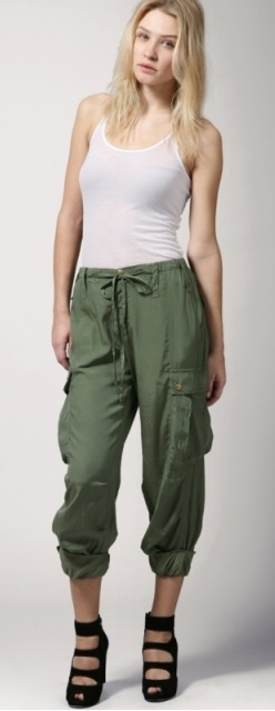 Green Skinny Cargo Pants For Women