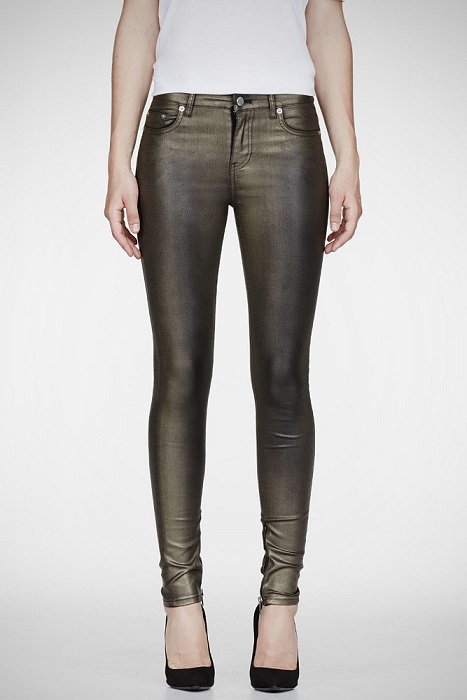 Metallic Coated Women Stretch Jeans