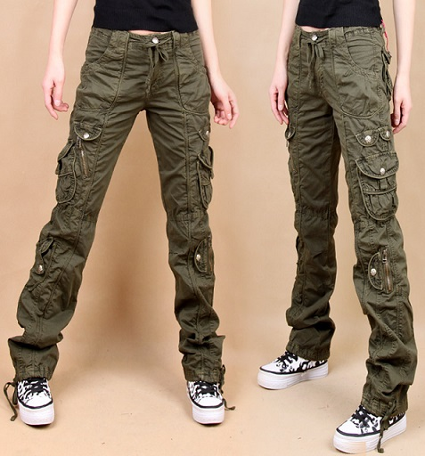 Slim Army Cargo Pants For Women