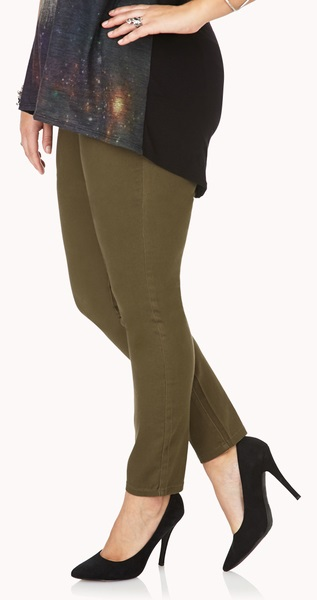 Womens Olive Green Skinny Jeans